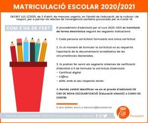 Matriculació 2020-21 2